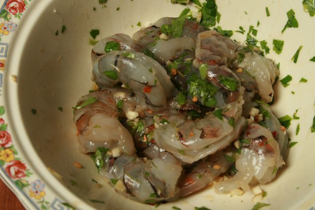 The shrimp marinade.