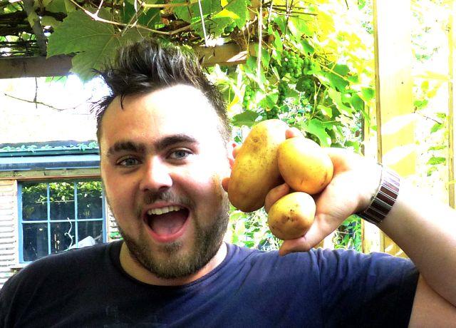 Stuart cradles his potatoes.