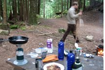 Camping breakfast table.  Eilidh's morning menu was pancakes. Way to camp Eilidh!
