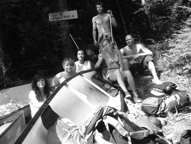 Me, the FC, Bano, Allejandro, Delphine and Marco relax after another grueling portage.